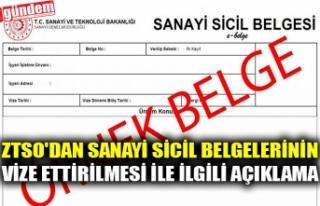 ZTSO'DAN SANAYİ SİCİL BELGELERİNİN VİZE...