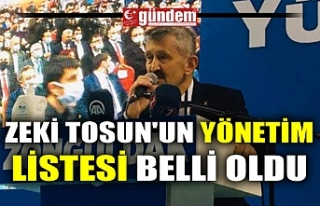 ZEKİ TOSUN'UN YÖNETİM LİSTESİ BELLİ OLDU