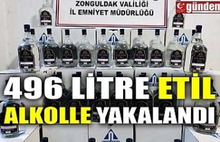 496 LİTRE ETİL ALKOLLE YAKALANDI