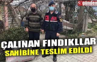 ÇALINAN FINDIKLAR SAHİBİNE TESLİM EDİLDİ