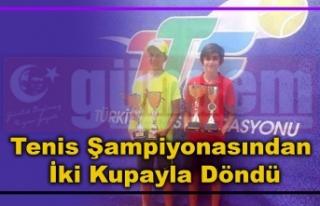 12 Yaş Yaz Kupası Tenis Şampiyonasından İki Kupayla...