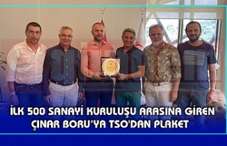 İLK 500 SANAYİ KURULUŞU ARASINA GİREN ÇINAR BORU'YA...