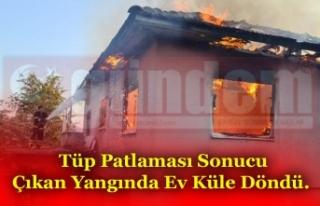Tüp Patlaması Sonucu Çıkan Yangında Ev Küle...