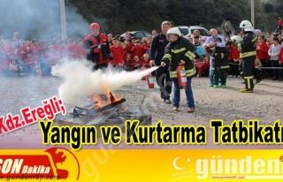 Ereğli'de yangın ve kurtarma tatbikatı