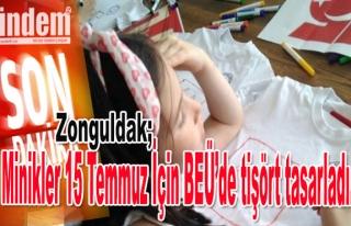 Minikler 15 Temmuz İçin BEÜ'de tişört tasarladı.