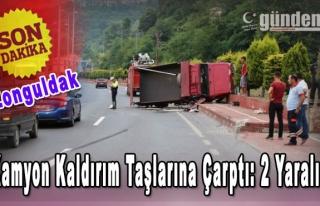 Zonguldak'ta kamyon kaldırıma çarptı: 2 yaralı