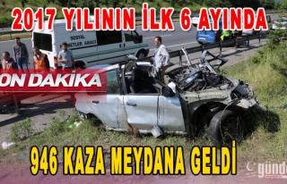 2017 yılının ilk 6 ayında 946 kaza meydana geldi