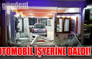 OTOMOBİL İŞYERİNE DALDI!