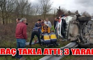 Araç Takla Attı 3 Yaralı