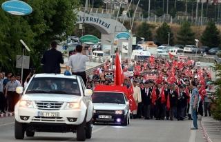"""Karabük'te """"Demokrasi Zaferi Yürüyüşü""""..."""