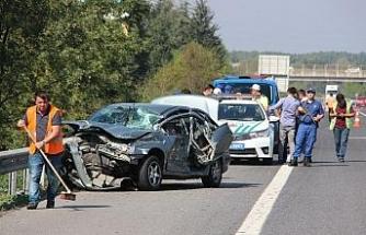 TEM Otoyolunda feci kaza 3 yaralı