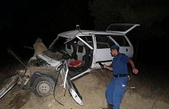 Yoldan çıkan otomobil ağaçlık alana uçtu: 1'i ağır 2 yaralı