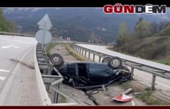 Takla Atan Otomobil refüje düştü!..