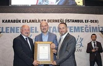 İstanbul Ef-Der'den Soylu'ya 'Fahri hemşehrilik' beratı