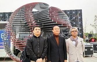 Eseri Çin'deki uluslararası Hengshuı Şehir Heykelleri Sanat festivalinde