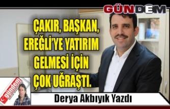 Çakır, başkan, Ereğli'ye yatırım gelmesi için çok uğraştı.