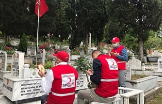Ereğli Kızılay şehitlerin mezarlarını ziyaret etti