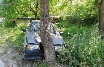 Karşıdan gelen araca çarpmamak için yoldan çıkıp ağaca çarptı : 3 yaralı
