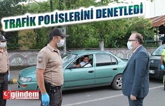 VALİ TUTULMAZ, POLİSLERİ TRAFİK POLİSLERİNİ DENETLEDİ
