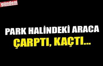 PARK HALİNDEKİ ARACA ÇARPTI, KAÇTI...