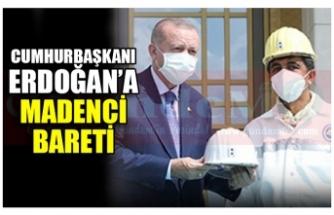 MADENCİ'DEN CUMHURBAŞKANI ERDOĞAN'A MADENCİ  BARETİ
