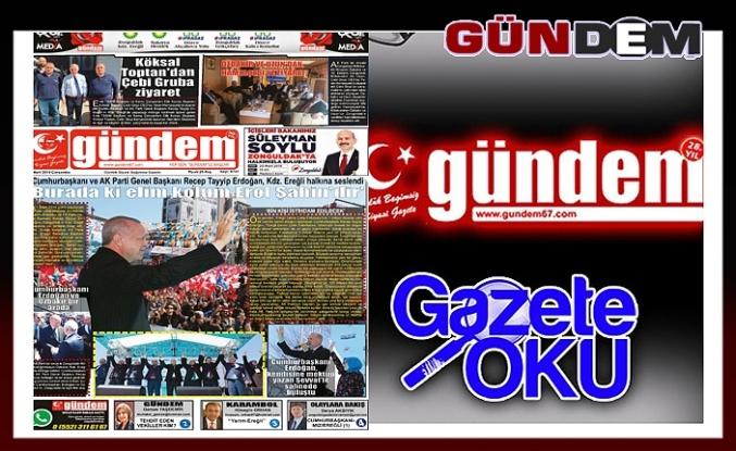 20 Mart 2019 Çarşamba Gündem gazetesi