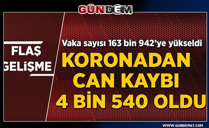 Türkiye'de koronavirüsten can kaybı 4 bin 540'a yükseldi...