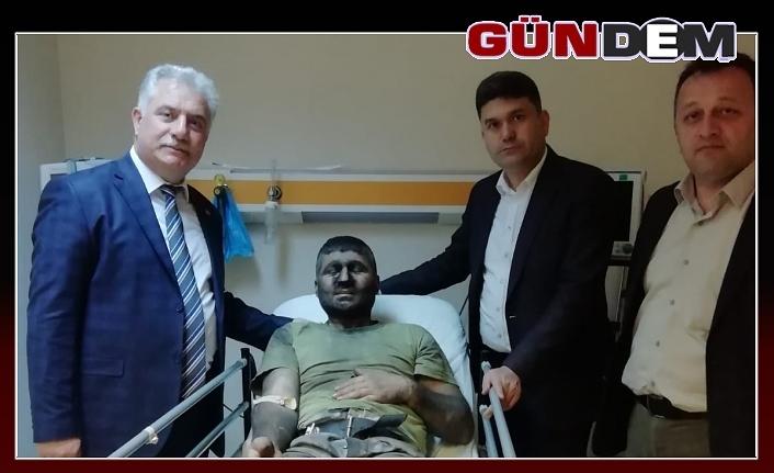 Demirtürk'ten kaza geçiren maden işçilerine ziyaret